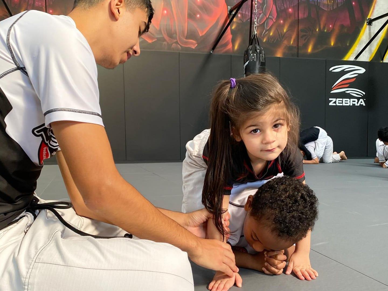 Girl training BJJ